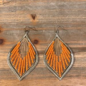 Gold Earrings with Stringed Orange Beads